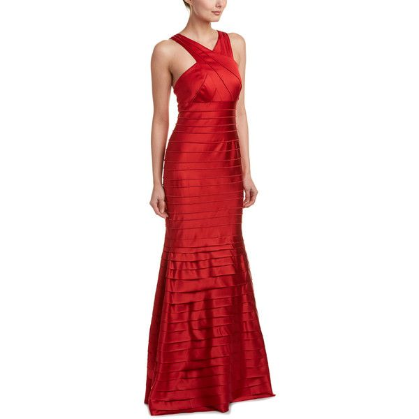 Kay Unger Gown (565 BRL) ❤ liked on Polyvore featuring dresses, gowns, red, print dresses, print evening gowns, red print dress, red stripe dress and flare dresses