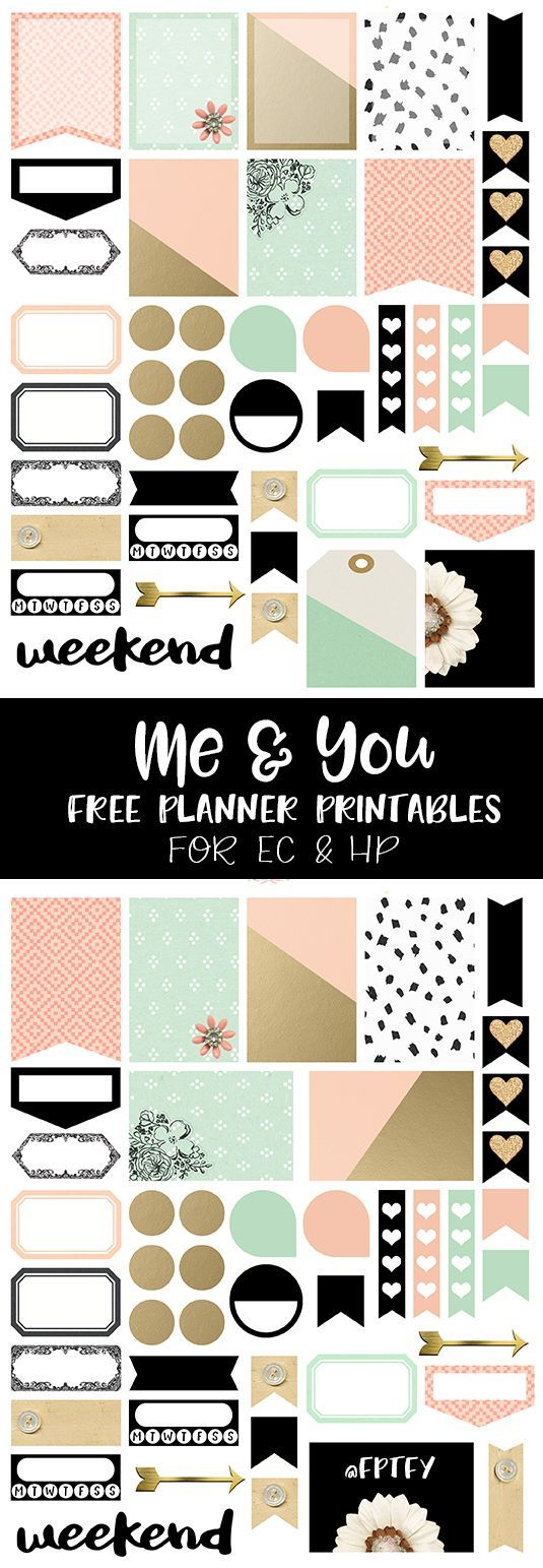 Me and You Free Planner Printables