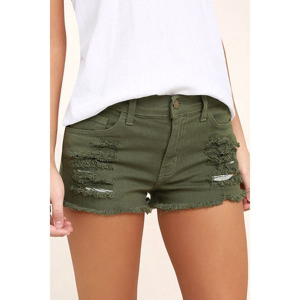 Cut-Off the Map Olive Green Distressed Jean Shorts ($42) ❤ liked on Polyvore featuring shorts, green, short jean shorts, olive green shorts, cutoff shorts, cut off shorts and destroyed denim shorts