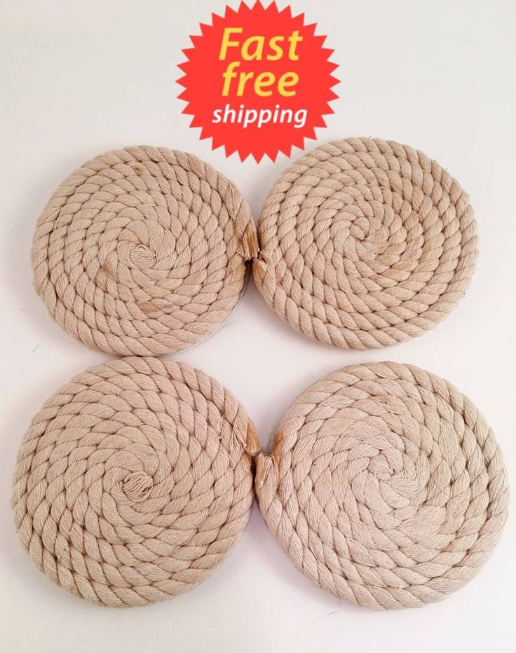 SET of 4 NAUTICAL anchor ROPE drink COASTERS beach THEMED kitchen DECOR #Unbranded