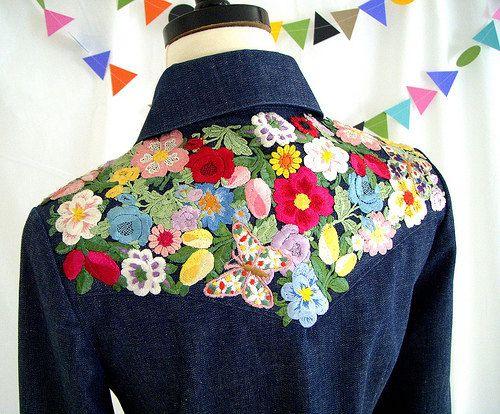Shirt Denim Embroidery Flowers Vintage 70s Manning by MsZinski