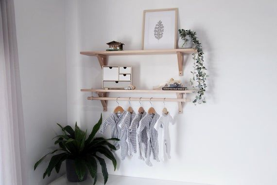 This Is A Simple Yet Elegant Shelving Design With An Optional Hanging Rod Made Out Of Tasmanian Oak Perfect Scandinavian Shelves Nursery Shelves Oak Shelves