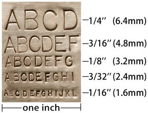 Metal stamped letter sizing