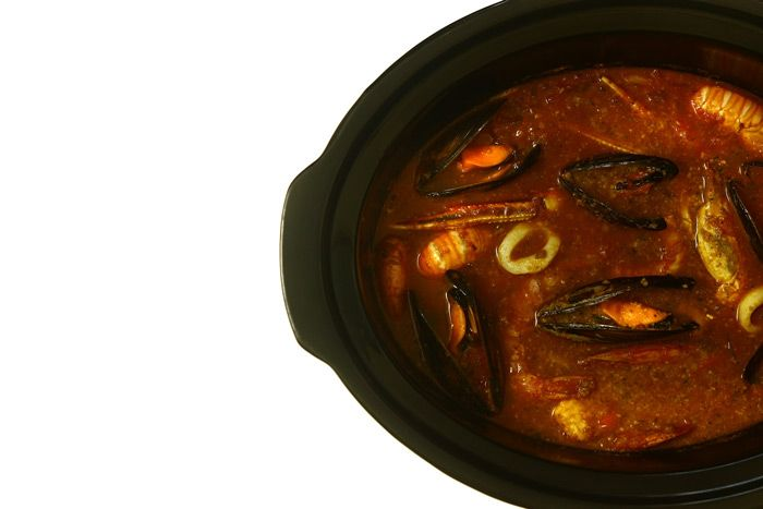 Caldereta de pescado y marisco. Receta de Navidad en Crock Pot