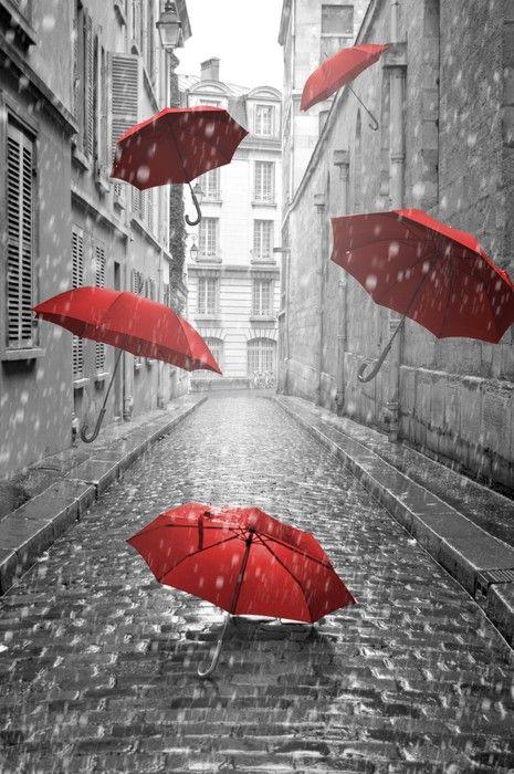 Love this 'Red Umbrellas' contemporary art print!