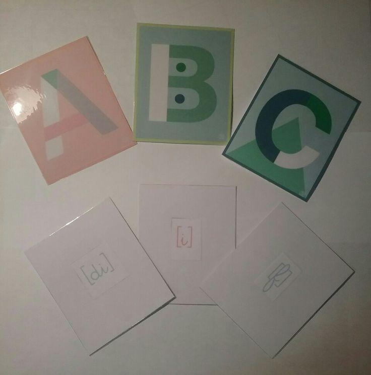 Nos cartes alphabet en anglais. Auto correction au dos avec la phonétique.