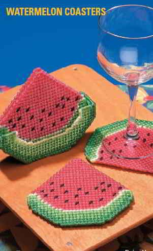 Plastic Canvas Watermelon Coasters Pattern. Awesome!