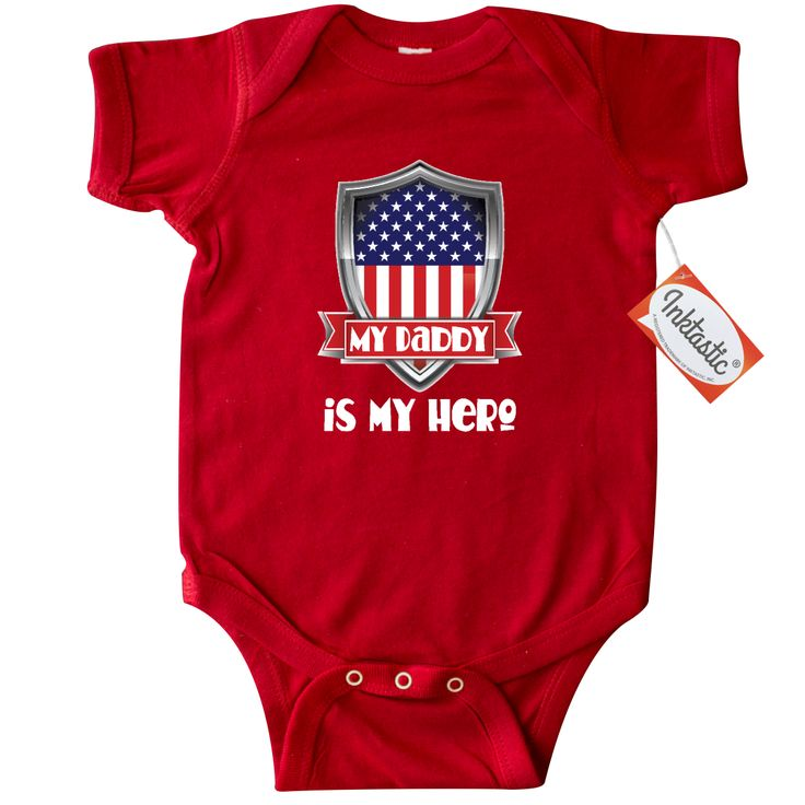 aada03e420c68 My Daddy is my hero Infant Creeper has a red white and blue American Flag  shield logo for a boy or girl whose father is in the military.