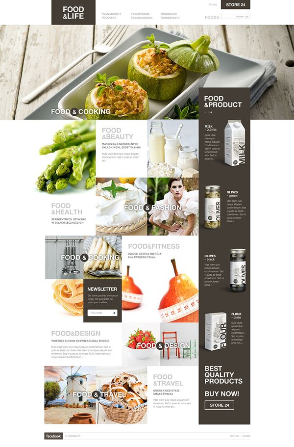 Food Website  Website design layout. Inspirational UX/UI design sample.  Visit us at: www.sodapopmedia.com #WebDesign #UX #UI #WebPageLayout #DigitalDesign #Web #Website #Design #Layout