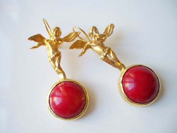 CHRISTMASS SALEMystic Angel Red Coral EARRING by beadycats on Etsy