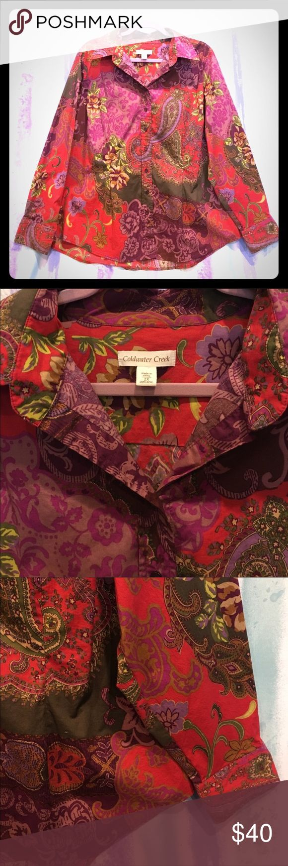 """Coldwater Creek plus size 2x button long sleeve Coldwater Creek plus size 2x button long sleeve purple red multi colored print top 28.5""""length Coldwater Creek Tops Button Down Shirts"""