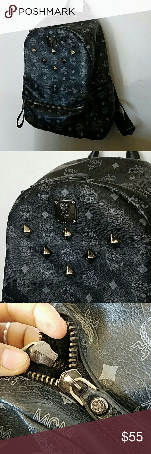 MCM studded backpack < PRICE REFLECTS AUTHENTICITY > Condition: preloved 6/10 bottom corners have wear. Material: faux leather  Hardware: black and silver   Interested? Shoot me an offer!! MCM Bags Backpacks