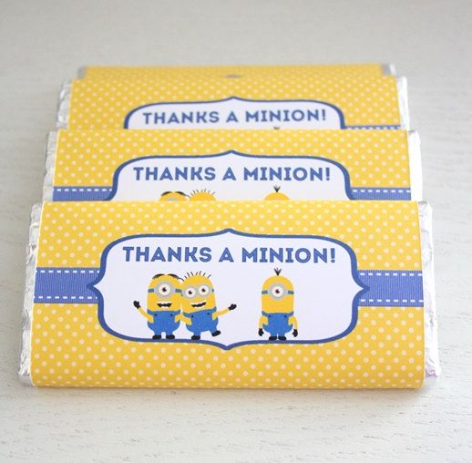 Instant Download - Chocolate Bar Wrappers - Minions / Despicable Me