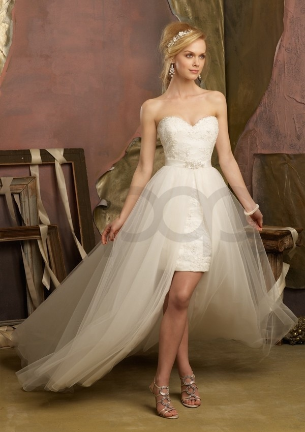 Beaded Lace with Removable Tulle Overskirt Short Aline