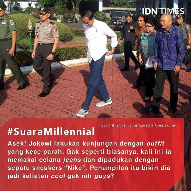 """#Jokowi tampil berbeda dalam kunjungan kerjanya ke #Tasikmalaya kali ini (9/6/2017). . Biasanya, saat kunjungan kerja Jokowi hanya memakai #jas hitam dipadu dengan kemeja putih atau kemeja putih lengan panjang saja. . Emang sih hari ini Jokowi tetap mengenakan kemeja putih, tapi ada yang beda dengan celananya. Kali ini Ia memakai celana jeans biru serta dipadukan dengan sepatu sneakers """"Nike"""". . Penampilan Jokowi pun terlihat sangat kasual bak anak muda. Jangan-jangan bakal jadi trend lagi…"""
