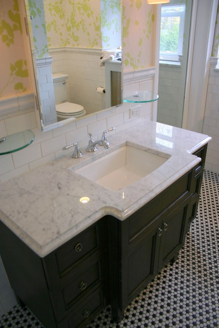 White Carrera Marble Guest Bath