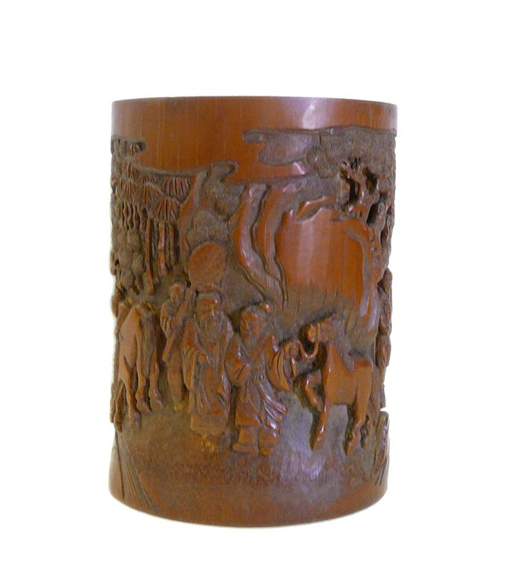 """This is a collectible and decorative oriental container carved from a natural bamboo plant with decent scenery on the surface. Dimensions: Dia 5.75"""" x h7.5"""" Origin: China Material: Bamboo Condition: V"""