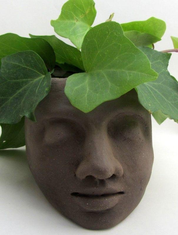 Ceramic head planter (brown clay, apple green glaze inside) - Atelier Saskia…