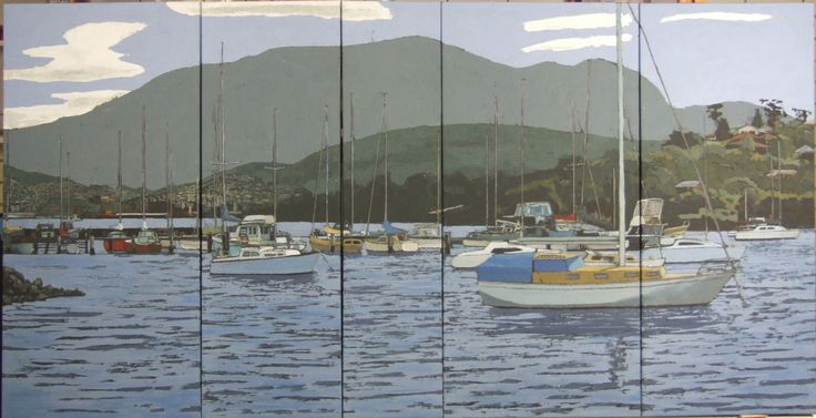 Five paneled work by contemporary artist David Mellows of Tasmanian harbour - Acrylic on Canvas 3.7 x 1 m