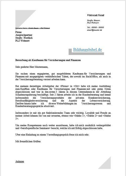 bewerbung kaufmann fr versicherungen und finanzen bewerbungsschreiben lebenslauf in 2018 musterbewerbung pinterest - Bewerbung Als Kauffrau Fur Buromanagement