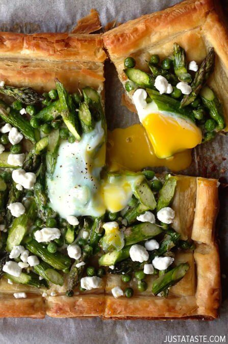 Asparagus and Egg Tart with Goat Cheese   recipe via justataste.com