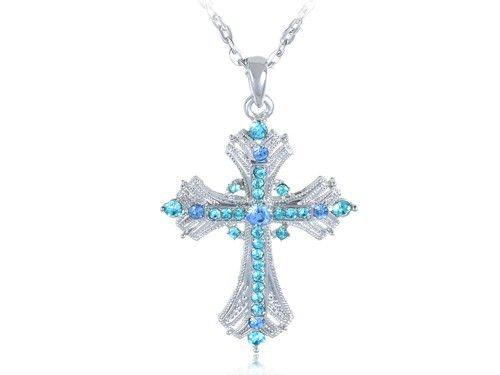 Аквамарин Синий Сапфир Кристалл Rhinestone Иисус Святой Крест Кулон Ожерелье для Женщин 2016(China (Mainland))