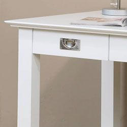 @Overstock.com - White Writing Desk - Add a stylish new element to any room with this contemporary white writing desk. This handsome desk is crafted from rubber wood and features a sleek, elegant finish with two drawers for holding writing essentials or other belongings.  http://www.overstock.com/Home-Garden/White-Writing-Desk/3245717/product.html?CID=214117 $299.99