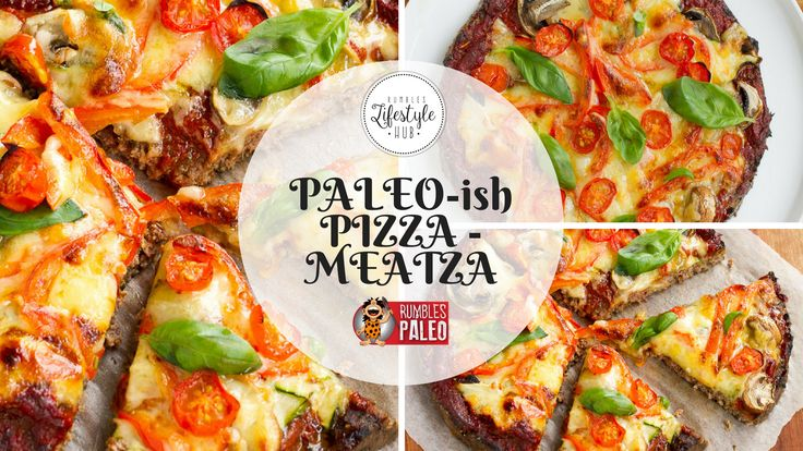 """Now here's one for the meat-lovers! It's pizza Paleo-style with a base of ground meat (yes, that's right - that """"MEATZA"""" title doesn't lie).  That's how we do it at Rumbles!"""