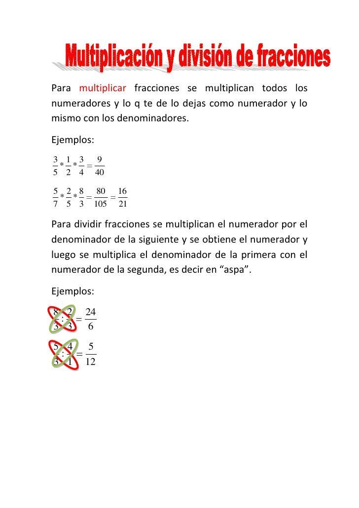 Multiplicación Y División De Fracciones Divisiones Matematicas Multiplicar Fracciones Fracciones