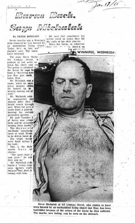 1960's alien abduction / encounter evidence hoax fooled Winnipeg Tribune newspaper editor Peter Warren.