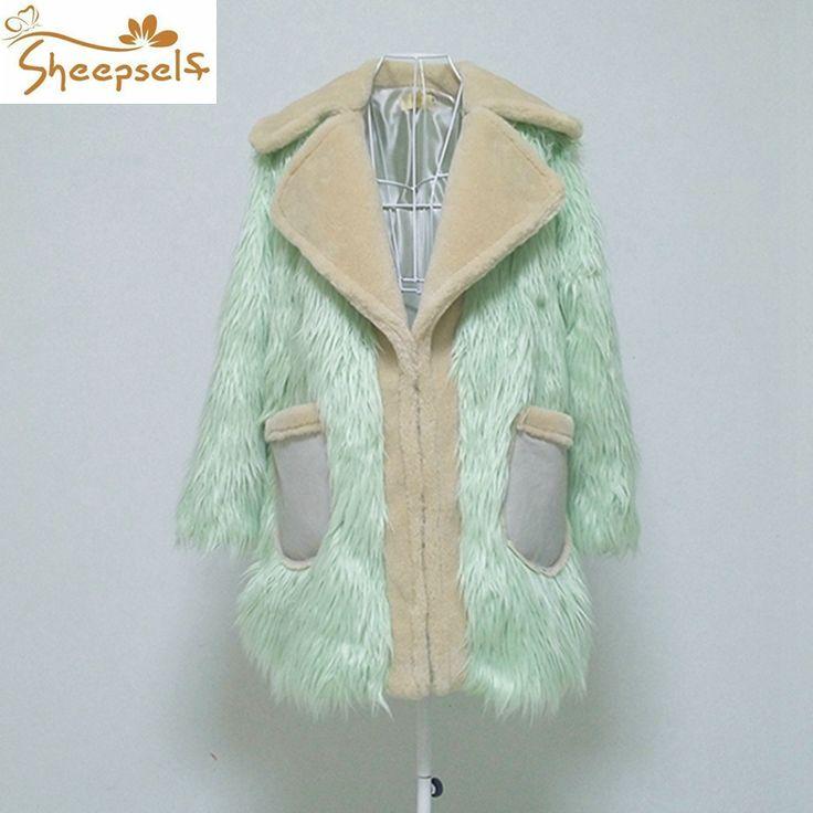 Women Winter Faux Fur Coats 2016 New Iridescent Color Sheep Goat Long Hair Thicken Outwear Coats S-3XL Femme Jackets WF156