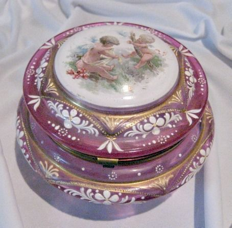 Magnificent Moser, Cranberry Glass Dresser Jar with lots of beautiful from lynnescollection on Ruby Lane
