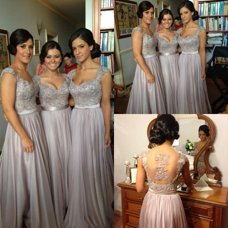 Flügelärmeln Lange Brautjungfer Kleider Perlen Spitze Appliques Hochzeit Kleid Formal Maid Of Honor Kleider Brautmädchen Kleid