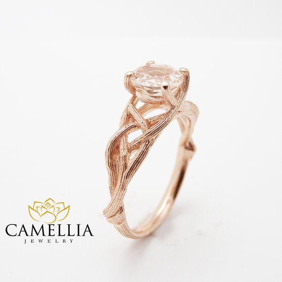 18K Rose goud Morganite Engagement Ring Rose goud Twig Rings unieke perzik roze Morganite tak Ring