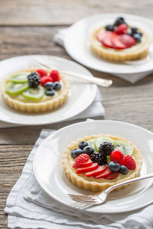 Fresh Fruit Tarts.  As delicious as they are pretty!  A great way to use the bounty of fresh fruits.