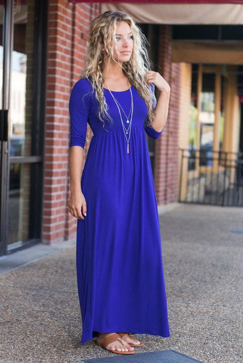 """""""Chic Maxi Dress with Sleeves, Royal Blue"""" We love a good simple, chic maxi dress! Especially this one for fall! It has 1/2 sleeves which we love and the elastic waist gives it such a nice shape!  #newarrivals #shopthemint"""