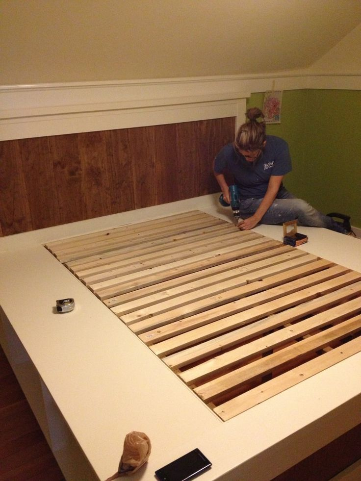 DIY Farmhouse Bed from 2 Ana White Plans | Impatiently Crafty