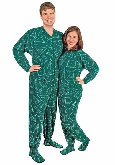 Adult One Piece Pajamas Math Fleece with Drop Seat