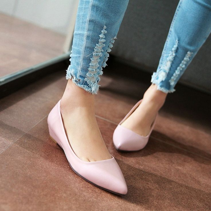 24.39$  Buy now - http://alimtj.shopchina.info/go.php?t=32605663028 - Size 34-43 PU leather Spring Autumn Ladies Shoes Pointed Toe Wedge Low Heel Wedding Women Pump Pink  #buymethat