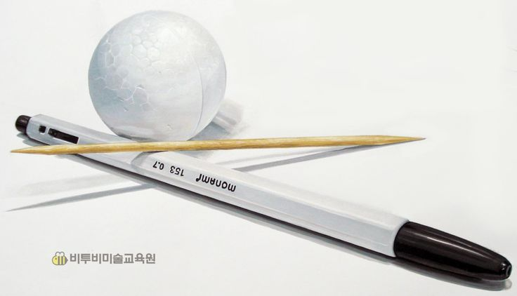 모나미 볼펜 긴 이쑤시개 스트로폼 공