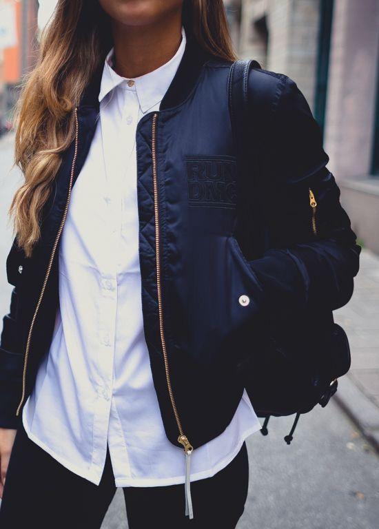 Navy silk jacket + basics.