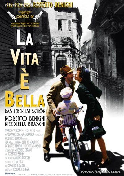 La vita è bella (La vida es bella 1997) es una película dirigida y protagonizada por Roberto Benigni. Ganadora de tres Oscar por Mejor banda sonora, Mejor actor y Mejor película extranjera, la película está basada en el libro Al final derroté a Hitler, de Rubino Romeo Salmoni. Como curiosidad, la película está co-protagonizada por Nicoletta Braschi, la mujer de Benigni.