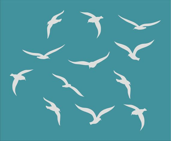 Seagulls OCEAN BIRDS **Stencil** Available in 5 Sizes- Create Beach Pillows, Beach Signs and Beach Decor!