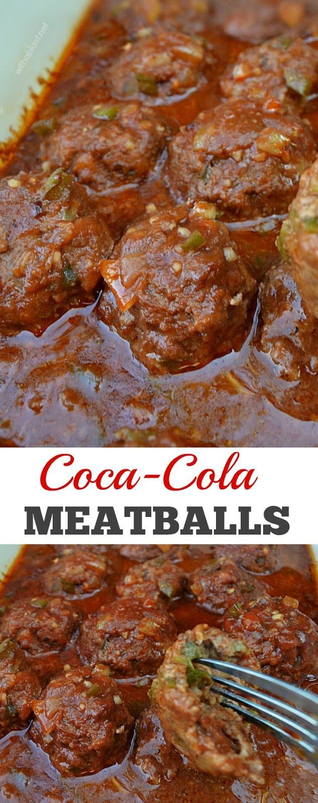 Tangy and saucy Coca-Cola Meatballs - my family's favorite dinner choice ! Serve over pasta, rice or mashed potatoes