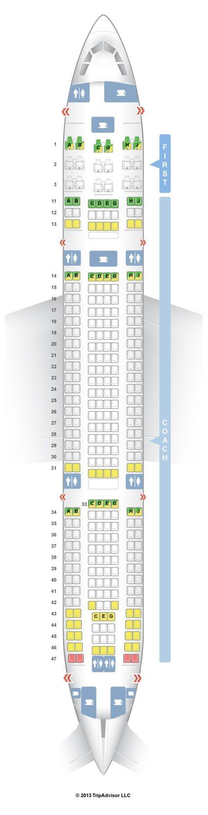 SeatGuru Seat Map Hawaiian Airlines Airbus A330-200 (332)
