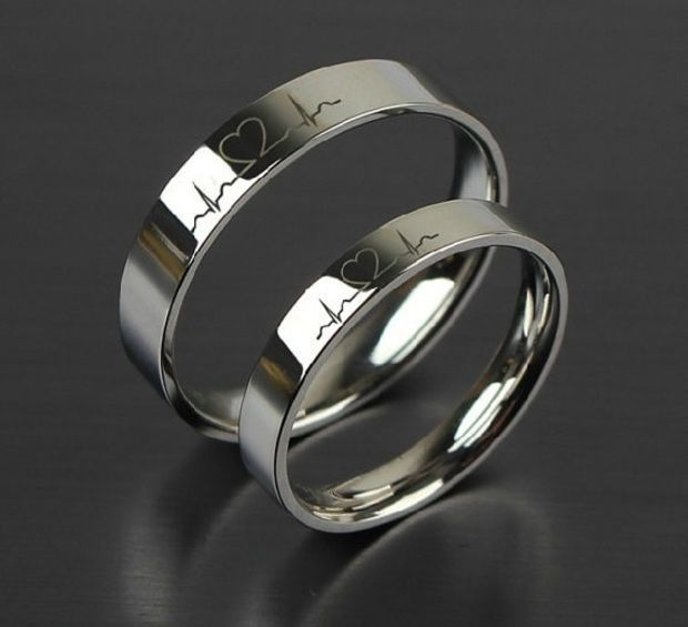 1pcs free engraving purple titanium rings sets love token couple wedding ringstitanium ring - Ring For Wedding