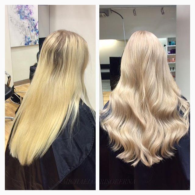 Vilket resultat! Vi ljusar upp hela håret med hjälp av olaplex då vi vill minimera skador på håret, och nyanserar sedan i en klar, kall nyans  #hairgoals #ghd #softwaves