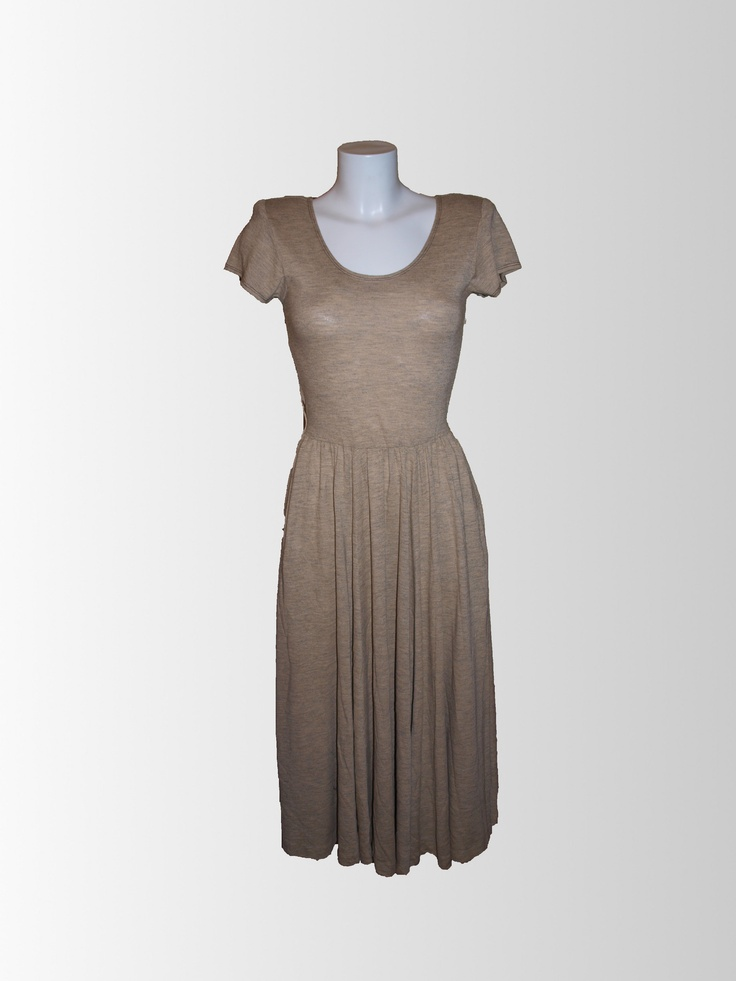 1970s Tan Jersey Dress from www.sixesandsevensvintage.com at £15.00  Size 14.