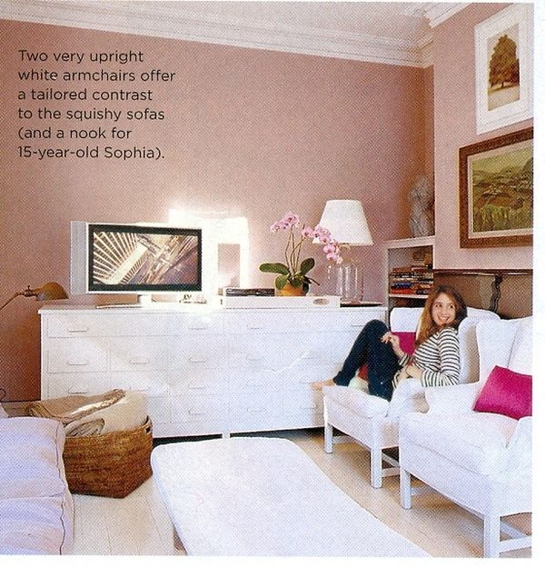 Relaxed, sophisticated teen room.  Pink + white + feminine details.