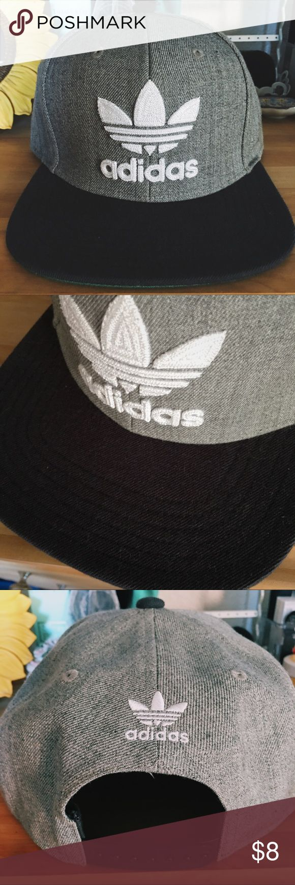 Adidas SnapBack Hat Adidas SnackBack Hat in Gray. Can be worn for males or females. Great for casual, street, sport, or dance wear. One Size. IMPORTANT NOTE: Slight foundation stain on the inside of cap, and small stain on the top part of the visor. Item is still in good condition and stains can go unnoticed. adidas Accessories Hats